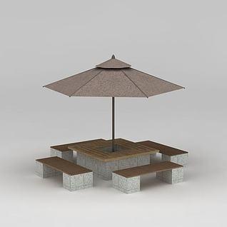 公园遮阳伞太阳伞3d模型