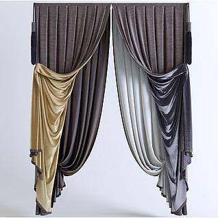 现代双层窗帘3d模型