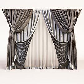 现代卧室三层窗帘模型