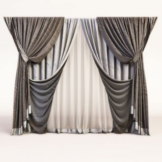 现代卧室三层窗帘3d模型