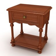 简约实木单抽床头柜3D模型3d模型