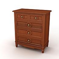现代简约实木五斗柜3D模型3d模型