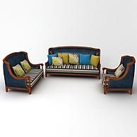 美式田园皮布沙发组合3D模型3d模型