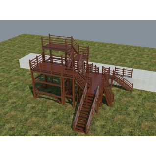 木质平台观望台3d模型