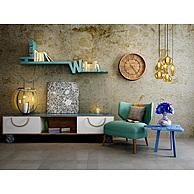 现代沙发椅边柜复古背景墙组合3D模型3d模型