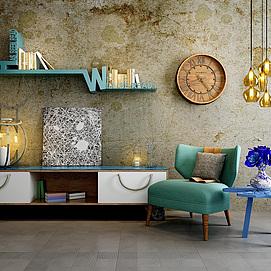 现代沙发椅边柜复古背景墙组合模型
