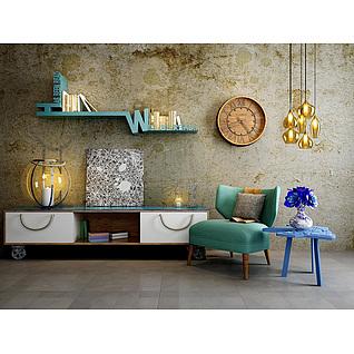 现代沙发椅边柜复古背景墙组合3d模型