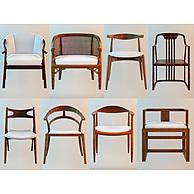 现代简约实木椅子组合3D模型3d模型