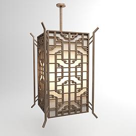 中式仿古雕花吊灯3d模型