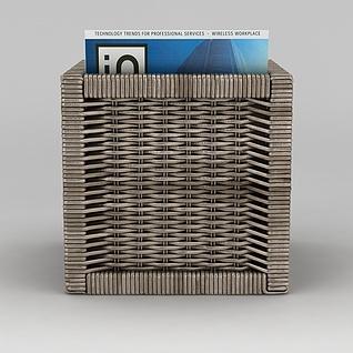 手工编织书篮3d模型