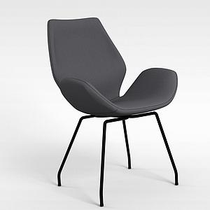 現代黑色簡約靠背椅模型