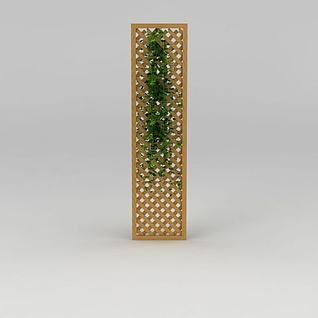 实木镂空隔断3d模型