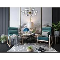 客厅时尚休闲沙发边几组合3D模型3d模型