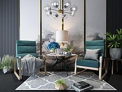 客厅时尚休闲沙发边几组合模型3d模型