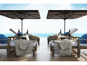 戶外沙灘泳池躺椅模型3d模型