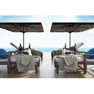户外沙滩泳池躺椅3d模型