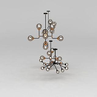 复古创意玻璃吊灯3d模型3d模型
