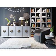 冷色调客厅家具组合3D模型3d模型