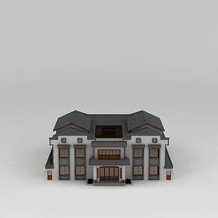 中式会所建筑3d模型3d模型