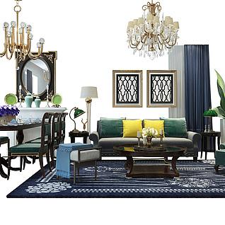 现代餐客厅一体家具组合3d模型