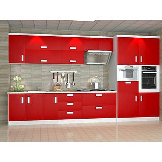 时尚厨房红白拼色橱柜组合3d模型