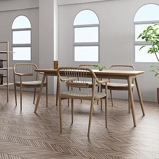 书吧实木书桌椅3d模型