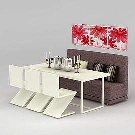 现代饭店餐厅桌椅组合3d模型