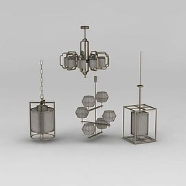 中式创意吊灯组合3d模型