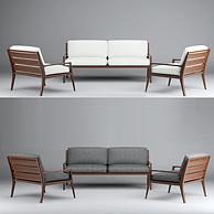北欧简约实木沙发3D模型3d模型