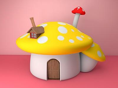 C4D蘑菇<font class='myIsRed'>房子</font>模型