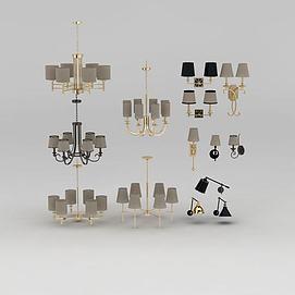 美式吊灯壁灯组合模型