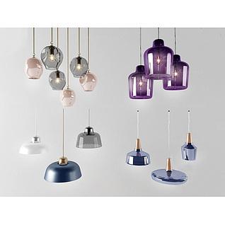 时尚玻璃艺术吊灯组合3d模型