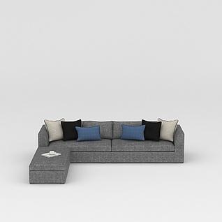 灰色布艺休闲沙发3d模型3d模型