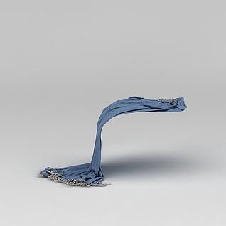 蓝色流苏围巾3d模型3d模型