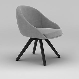 北欧灰色休闲沙发椅3d模型3d模型