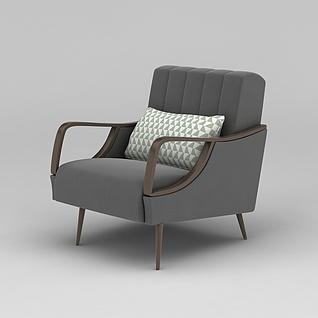 北欧灰色休闲单人沙发3d模型3d模型