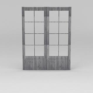 中式实木门窗3d模型