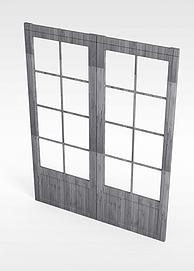 中式实木门窗模型