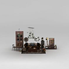 工业风客厅沙发茶几组合3D模型3d模型