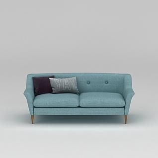 北欧青色布艺双人沙发3d模型3d模型