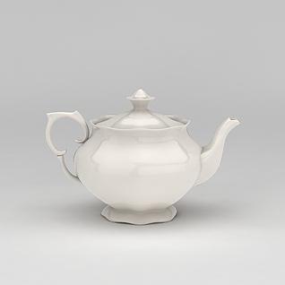 餐厅白色陶瓷茶壶3d模型
