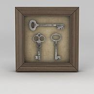 室内复古钥匙挂画3D模型3d模型