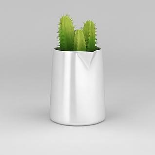 仙人掌盆栽3d模型