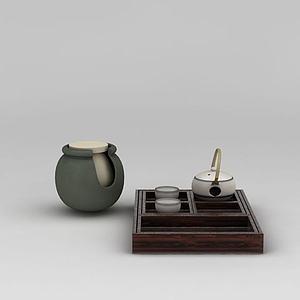 日式陶瓷茶具模型
