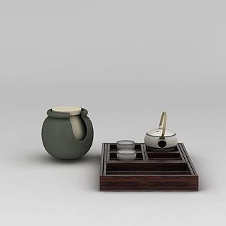 日式陶瓷茶具3d模型