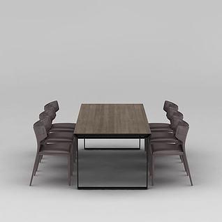 北欧咖啡色实木餐桌椅组合3d模型3d模型