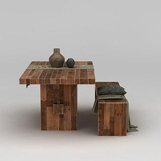 复古实木餐桌椅3d模型