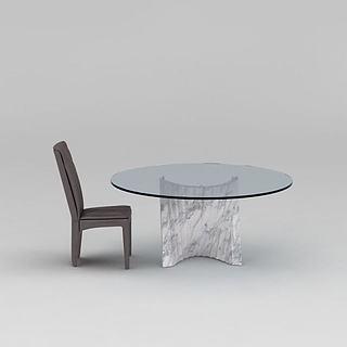 现代圆餐桌餐椅组合3d模型