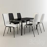 时尚黑白色餐桌椅组合3D模型3d模型