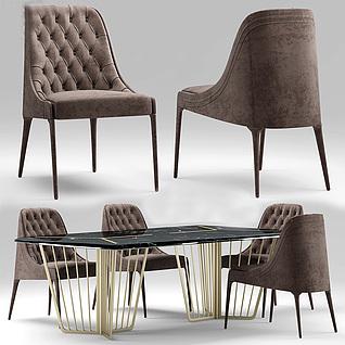 高档咖啡色简欧餐厅桌椅组合3d模型3d模型